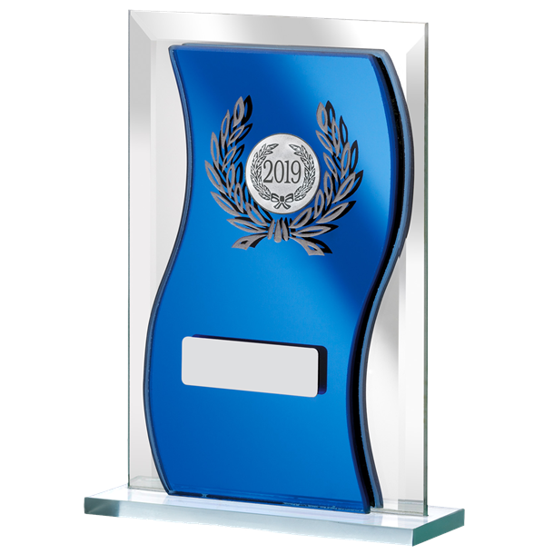 "2019 Blue Mirrored Glass Plaque Award 12.5cm (5"")"