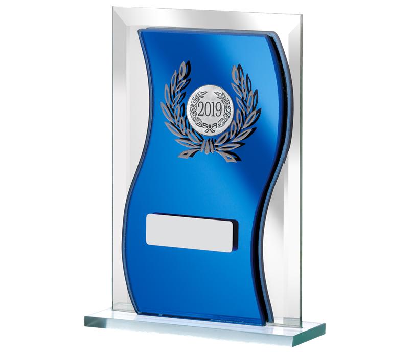 "2019 Blue Mirrored Glass Plaque Award 15cm (6"")"