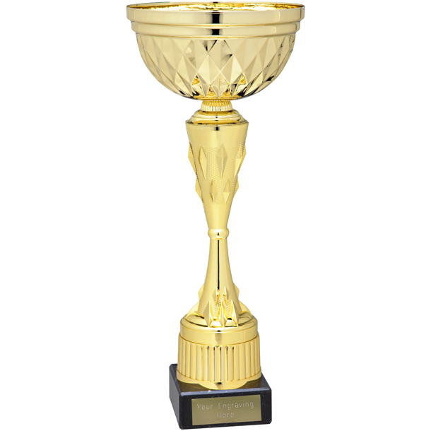 """Diamond Patterned Trophy Cup Gold 22cm (8.75"""")"""