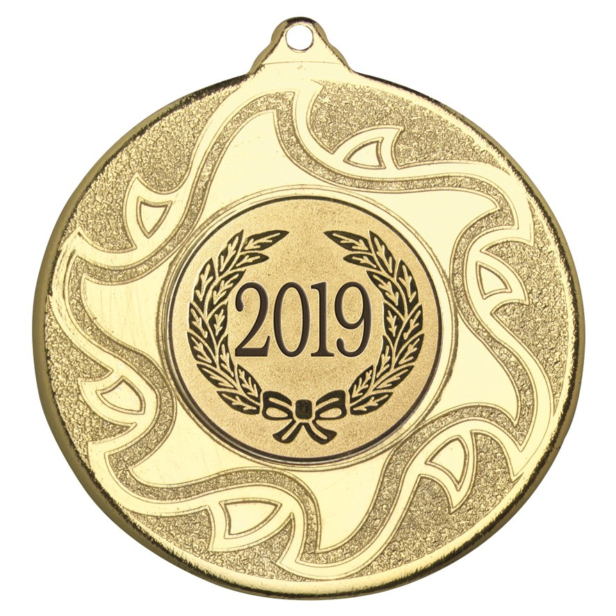 "2019 Gold Sunburst Star Patterned Medal 50mm (2"")"