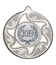 "2019 Silver Sunburst Star Patterned Medal 50mm (2"")"