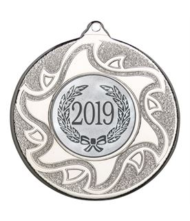 "2019 Silver Sunburst Star Patterned Medal 50mm (2"")"