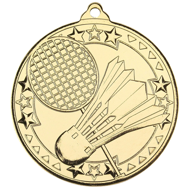 "Gold Badminton Tri Star Medal 50mm (2"")"