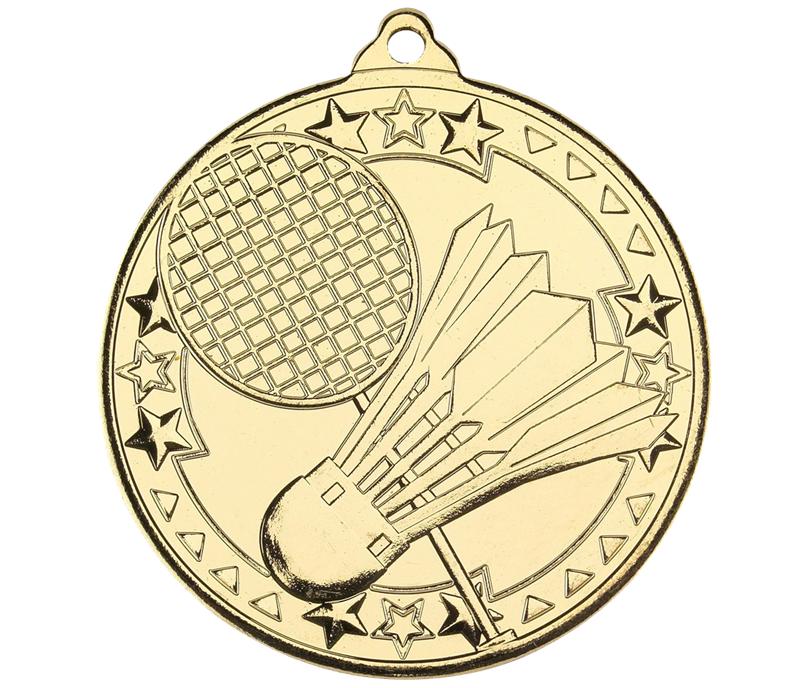"Gold Badminton Tri Star Medal 50mm (2"")"