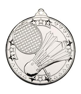 "Silver Badminton Tri Star Medal 50mm (2"")"