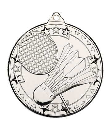 "Silver Badminton Tri Star Medal 50mm (2"")"