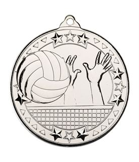 """Silver Volleyball Tri Star Medal 50mm (2"""")"""