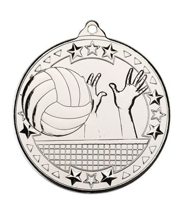"Silver Volleyball Tri Star Medal 50mm (2"")"