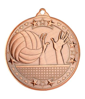 "Bronze Volleyball Tri Star Medal 50mm (2"")"