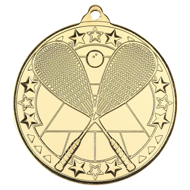 "Gold Squash Tri Star Medal 50mm (2"")"