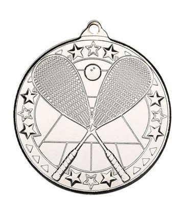 "Silver Squash Tri Star Medal 50mm (2"")"