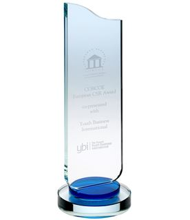 """Curved Wave Glass Award Clear & Blue 30cm (11.75"""")"""