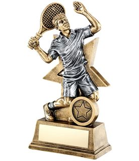 "Male Tennis Player Trophy Star Backdrop 15cm (6"")"