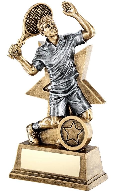 "Male Tennis Player Trophy Star Backdrop 15cm (6"")"