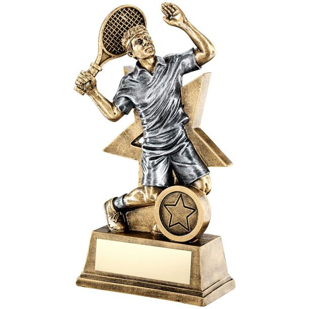 "Male Tennis Player Trophy Star Backdrop 18cm (7"")"
