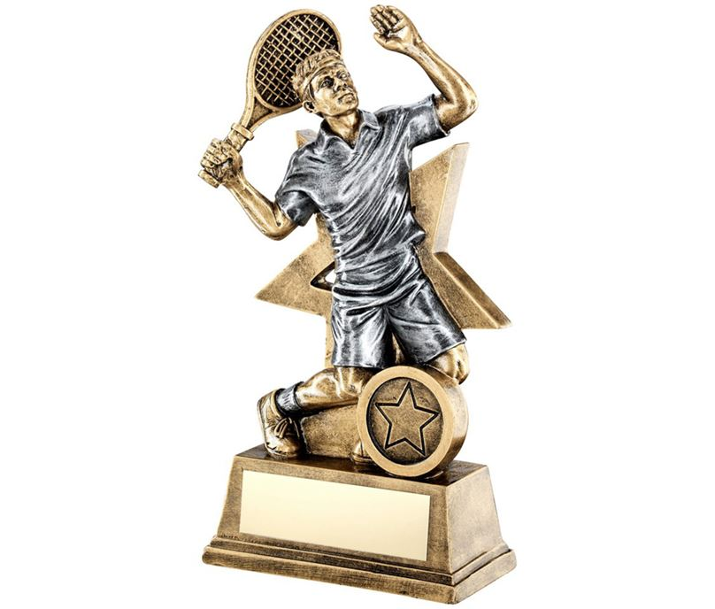 "Male Tennis Player Trophy Star Backdrop 23cm (9"")"