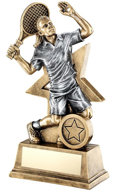 "Female Tennis Player Trophy Star Backdrop 15cm (6"")"