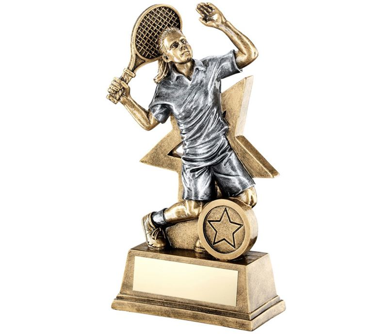 "Female Tennis Player Trophy Star Backdrop 18cm (7"")"