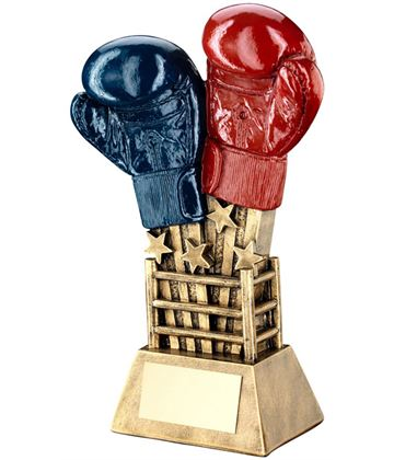 "Shooting Stars Boxing Glove Trophy Red & Blue 20cm (7.75"")"