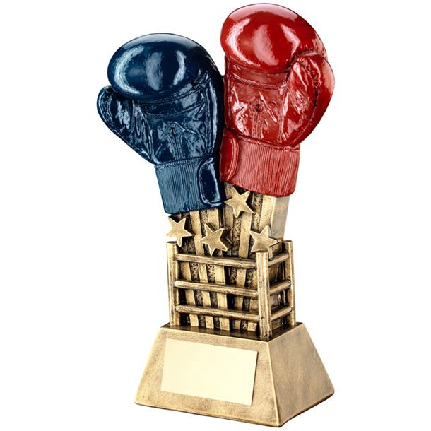 """Shooting Stars Boxing Glove Trophy Red & Blue 20cm (7.75"""")"""