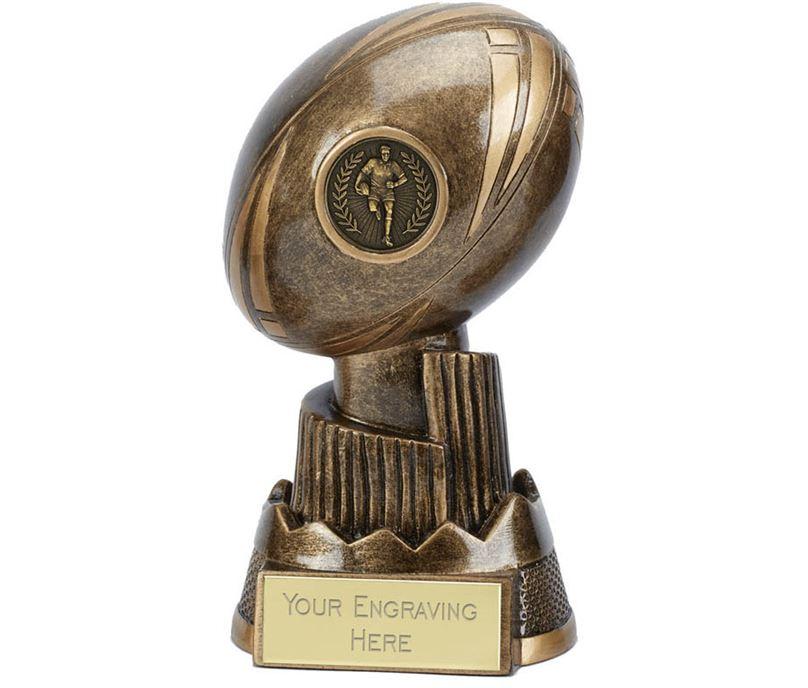 "Rugby Ball Trophy Apex 13cm (5"")"