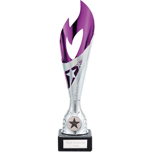 "Dance Flame Trophy Silver & Purple 26.5cm (10.5"")"