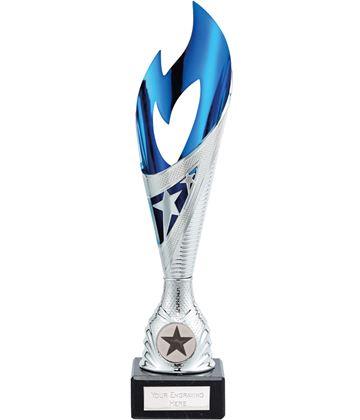 "Dance Flame Trophy Silver & Blue 26.5cm (10.5"")"