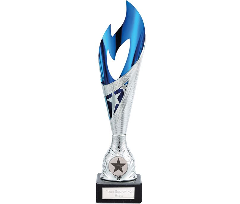 "Dance Flame Trophy Silver & Blue 28.5cm (11.25"")"