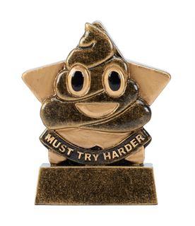 "Must Try Harder Poo Mini Star Trophy 8.5cm (3.25"")"