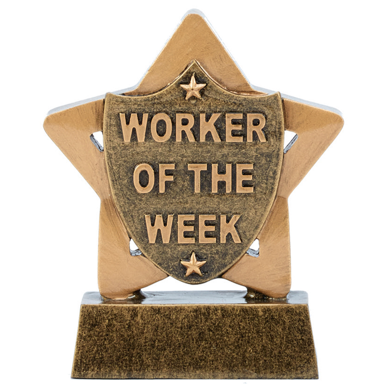 "Worker Of The Week Mini Star Trophy 8.5cm (3.25"")"