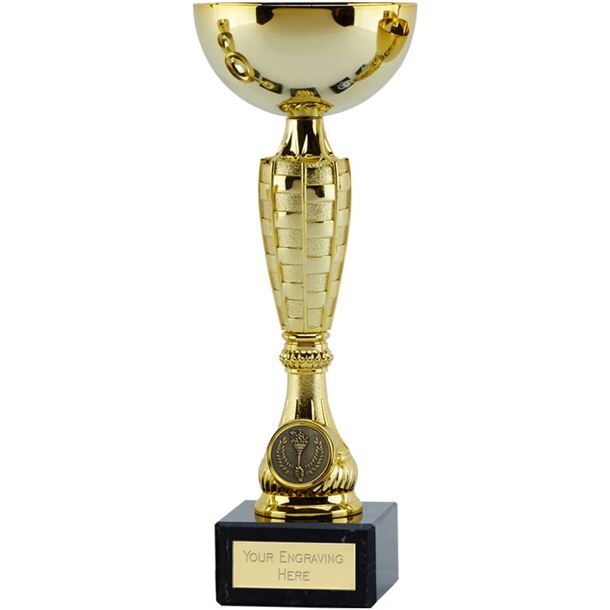 """Gold Trophy Cup Chequer 21.5cm (8.5"""")"""