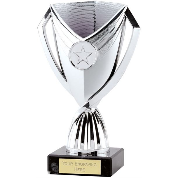 "Medallion Trophy Cup On Marble Base Silver 17cm (6.75"")"