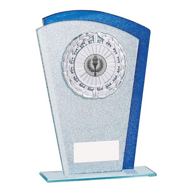 "Glitter Laurel Wreath Glass Plaque Award Silver & Blue 18.5cm (7.25"")"