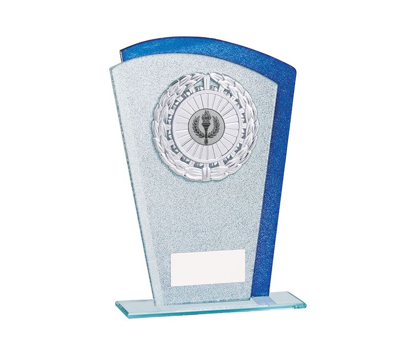 "Glitter Laurel Wreath Glass Plaque Award Silver & Blue 17.5cm (7"")"