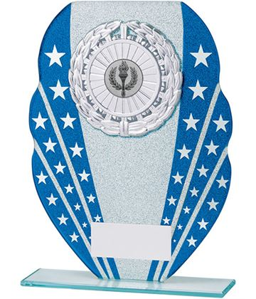"Glitter Star Burst Glass Award Silver & Blue 20.5cm (8"")"