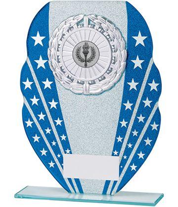 "Glitter Star Burst Glass Award Silver & Blue 16.5cm (6.5"")"