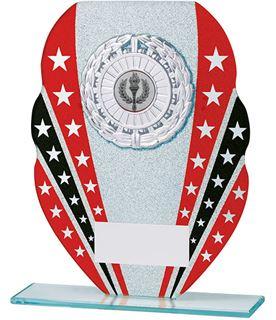 "Glitter Star Burst Glass Award Silver & Red 18.5cm (7.25"")"