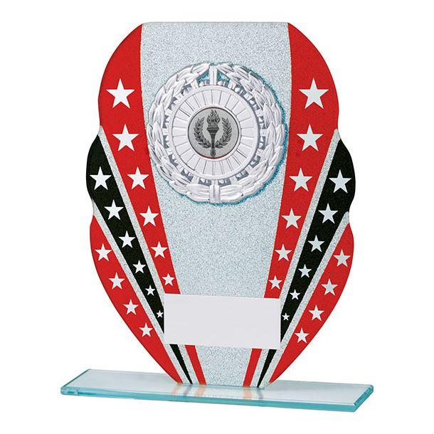 "Glitter Star Burst Glass Award Silver & Red 16.5cm (6.5"")"