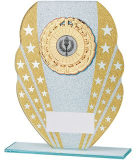 "Glitter Star Burst Glass Award Silver & Gold 18.5cm (7.25"")"