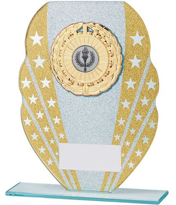 "Glitter Star Burst Glass Award Silver & Gold 16.5cm (6.5"")"