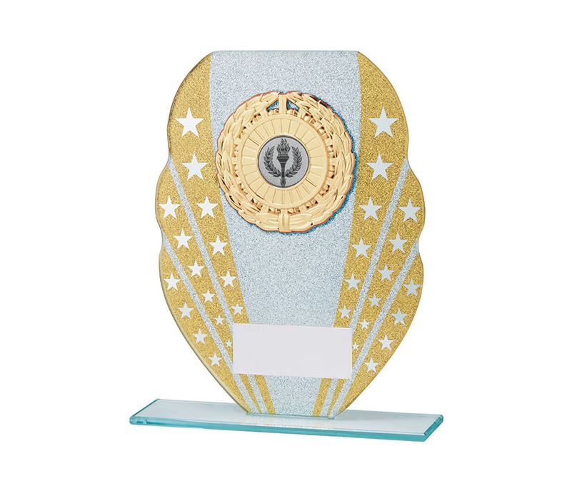 "Glitter Star Burst Glass Award Silver & Gold 20.5cm (8"")"