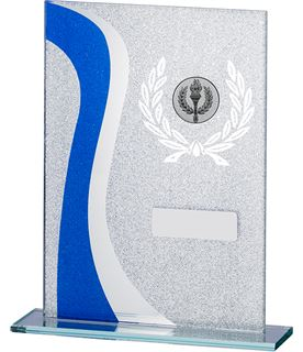 "Wave Glitter Glass Plaque Award Blue & Silver 18.5cm (7.25"")"