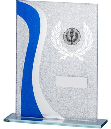 "Wave Glitter Glass Plaque Award Blue & Silver 20.5cm (8"")"