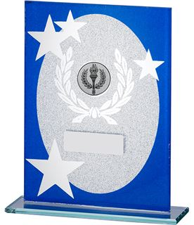 "Oval Star Glitter Glass Plaque Award Blue & Silver 16.5cm (6.5"")"