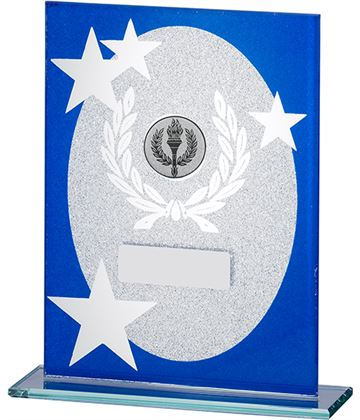 "Oval Star Glitter Glass Plaque Award Blue & Silver 20.5cm (8"")"