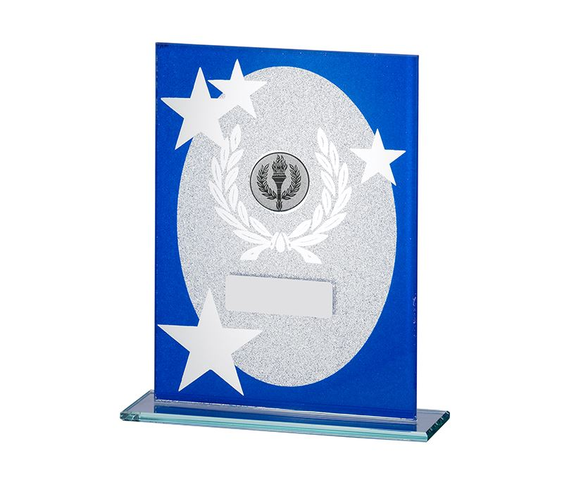 "Oval Star Glitter Glass Plaque Award Blue & Silver 18.5cm (7.25"")"