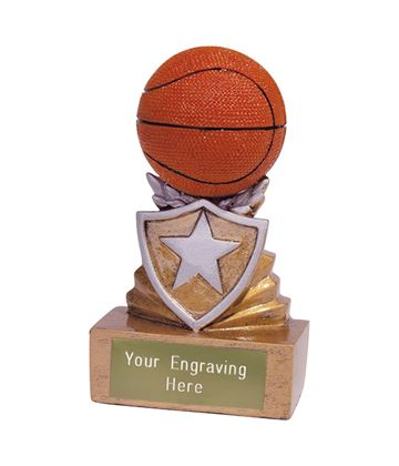 Mini Basketball Shield Trophy 9.5cm (3.75)