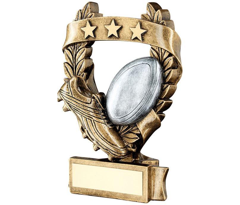 """Star Laurel Wreath Rugby Trophy 19cm (7.5"""")"""