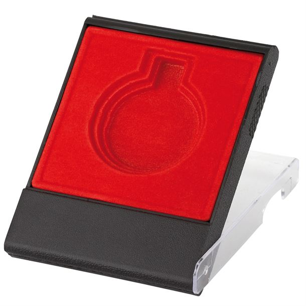 Red Medal Box with Clear Lid for 40mm, 45mm, or 50mm Medals