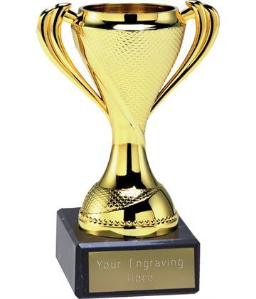 "Trophy Cup On Black Marble Base Gold 12cm (4.75"")"